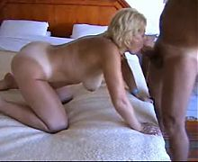 Blonde Mature fucks doggy in her ass